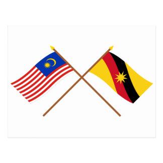 マレーシアおよびサラワク州の交差させた旗 ポストカード