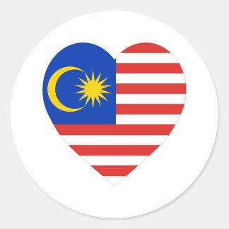 マレーシアの旗のハート ラウンドシール