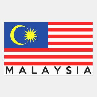 マレーシアの旗の国の文字の名前 長方形シール