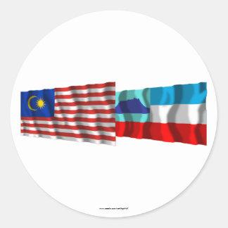 マレーシア及びサバ州の振る旗 ラウンドシール