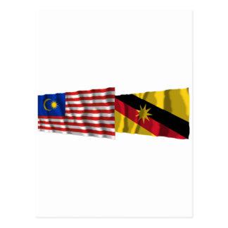 マレーシア及びサラワク州の振る旗 ポストカード