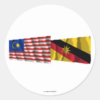 マレーシア及びサラワク州の振る旗 ラウンドシール
