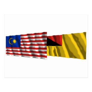 マレーシア及びNegeri Sembilanの振る旗 ポストカード