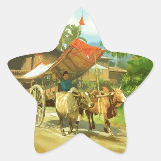 マレーシア-去勢牛の引く荷車 星シール