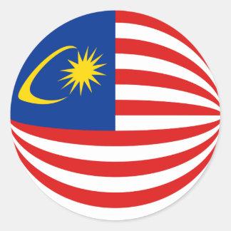 マレーシアFisheyeの旗のステッカー ラウンドシール