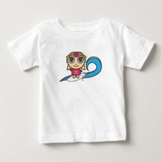 マンガのキャラクタのサーファーの女の子か波のベスト ベビーTシャツ