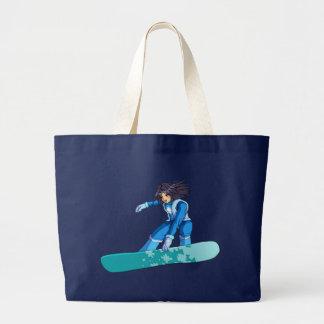 マンガのスノーボーダーの女の子 ラージトートバッグ