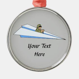 マンガ欄の飛行機のパイロット メタルオーナメント