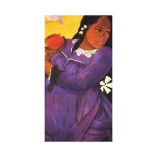 マンゴのキャンバスの覆いを持つGauguinの女性 キャンバスプリント