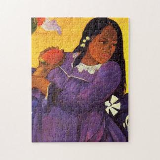 マンゴのパズルを持つGauguinの女性 ジグソーパズル