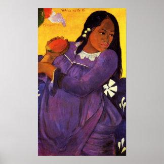 マンゴポスターを持つGauguinの女性 ポスター