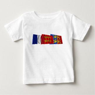 マンシュ、バスーノルマンディー及びフランスの旗 ベビーTシャツ