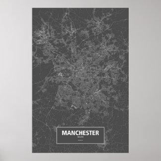 マンチェスター、イギリス(黒で白い) ポスター