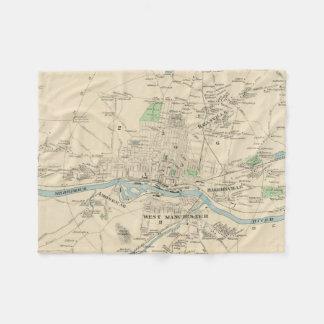 マンチェスターNH (1892年)のヴィンテージの地図 フリースブランケット