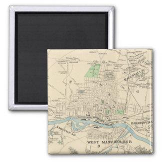 マンチェスターNH (1892年)のヴィンテージの地図 マグネット