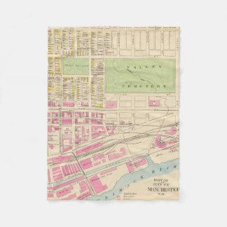マンチェスターNH (1892年) (2)のヴィンテージの地図 フリースブランケット