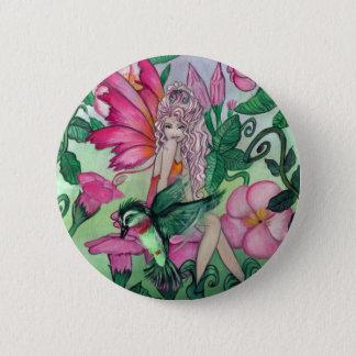 """""""マンディ""""の妖精のハチドリのファンタジーの芸術ボタン 5.7CM 丸型バッジ"""