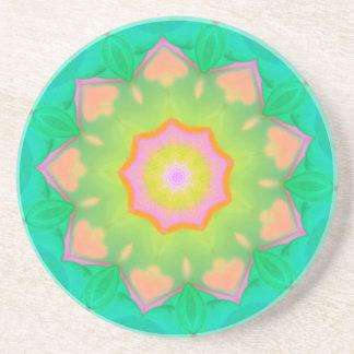 マンデラ鮮やかなネオンパステル調のパターン コースター