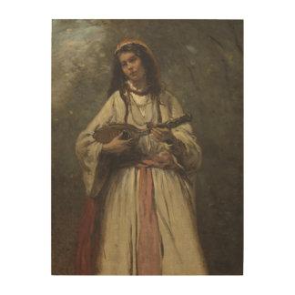マンドリンを持つジプシーの女の子 ウッドウォールアート