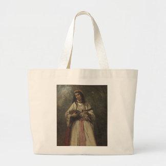 マンドリンを持つジプシーの女の子 ラージトートバッグ