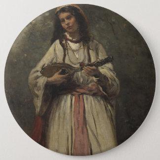 マンドリンを持つジプシーの女の子 缶バッジ