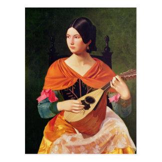 マンドリンを持つ若い女性、1845-47年 ポストカード