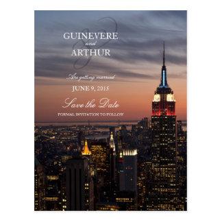 マンハッタンニューヨーク日没の結婚式の保存日付 ポストカード