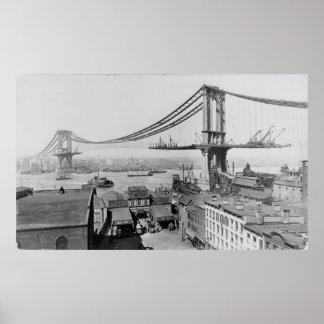 マンハッタン橋元のプリントの建築1909年 ポスター