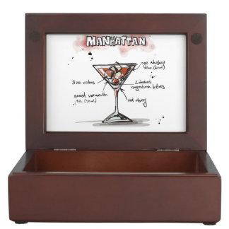 マンハッタン飲み物のレシピのデザイン ジュエリーボックス