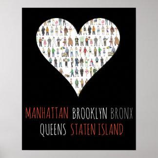 マンハッタンSI NYCのハートのブルックリンブロンクスの女王の芸術 ポスター