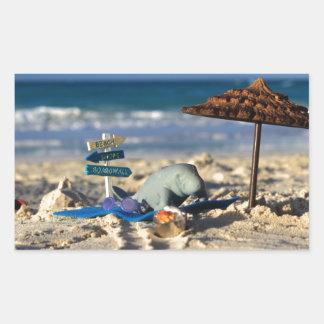 マンフレッドビーチのマナティー 長方形シール