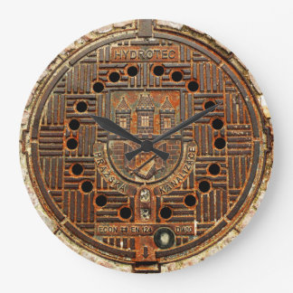 マンホールの蓋4 (プラハ) ラージ壁時計