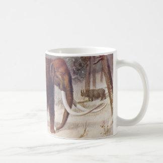 マンモスの有史以前の動物の旧式なプリント コーヒーマグカップ