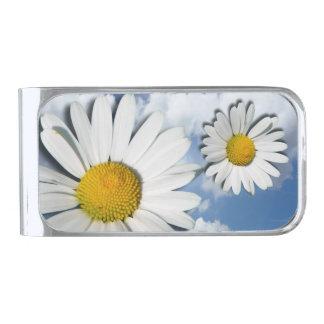 マーガレットの花だけ + あなたの文字及びアイディア シルバー マネークリップ