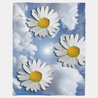 マーガレットの花だけ + あなたの文字及びアイディア フリースブランケット