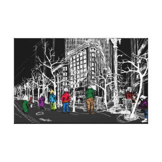 マーケットストリート33番地サンフランシスコ。 夜空 キャンバスプリント