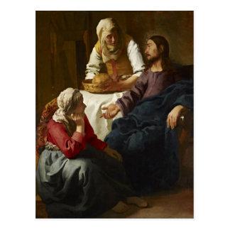 マーサおよびメリー(Vermeer)の家のキリスト ポストカード