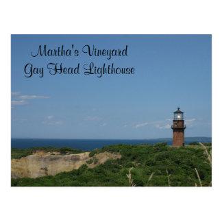 マーサのブドウ園の陽気なヘッド灯台の郵便はがき ポストカード