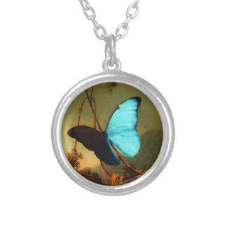マーティン・ジョンソンHeade青いMorphoの蝶 シルバープレートネックレス