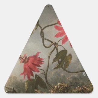 マーティンJohnso著ハチドリが付いている情熱の花 三角形シール