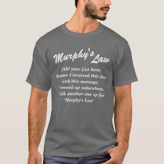 マーフィーの法律(あなたの文字)の暗いワイシャツ、白い文字 Tシャツ