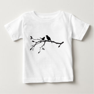 ミイラおよび赤ん坊のすずめのシルエット ベビーTシャツ