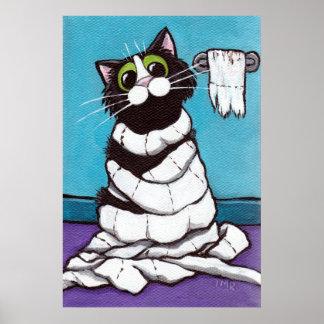 ミイラにされる-お洒落な猫のプリント ポスター