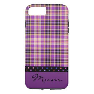 ミイラの国の紫色のタータンチェックのデザインの携帯電話の箱 iPhone 8 PLUS/7 PLUSケース