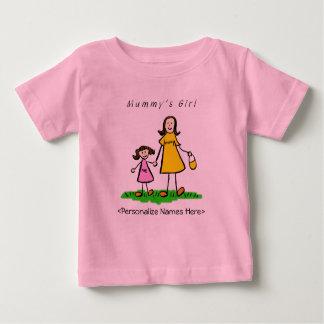 ミイラの女の子-ブルネットの母及び娘のワイシャツ ベビーTシャツ