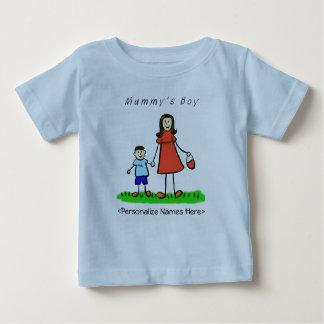 ミイラの小さい男の子-ブルネットの母及び息子のワイシャツ ベビーTシャツ