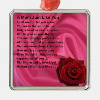 ミイラの詩は-ピンクの絹及び上がりました メタルオーナメント