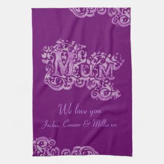ミイラ私達は紫色の台所タオル愛します キッチンタオル