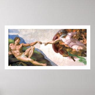 ミケランジェロ著アダム(詳細)を作成している神 ポスター