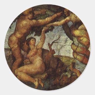 ミケランジェロ著エデンの園からの秋 ラウンドシール